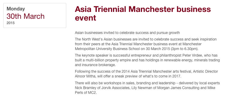 Prof. Peter Virdee Keynote Speaker at the Asian Triennial Manchester Metropolitan University Event 30th March 2015
